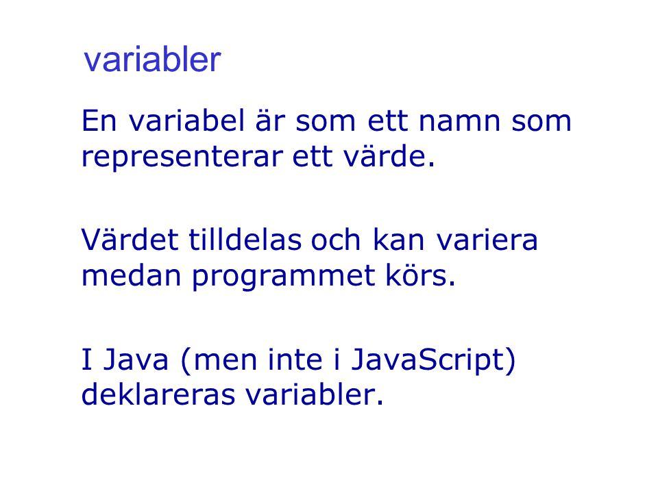 variabler En variabel är som ett namn som representerar ett värde.