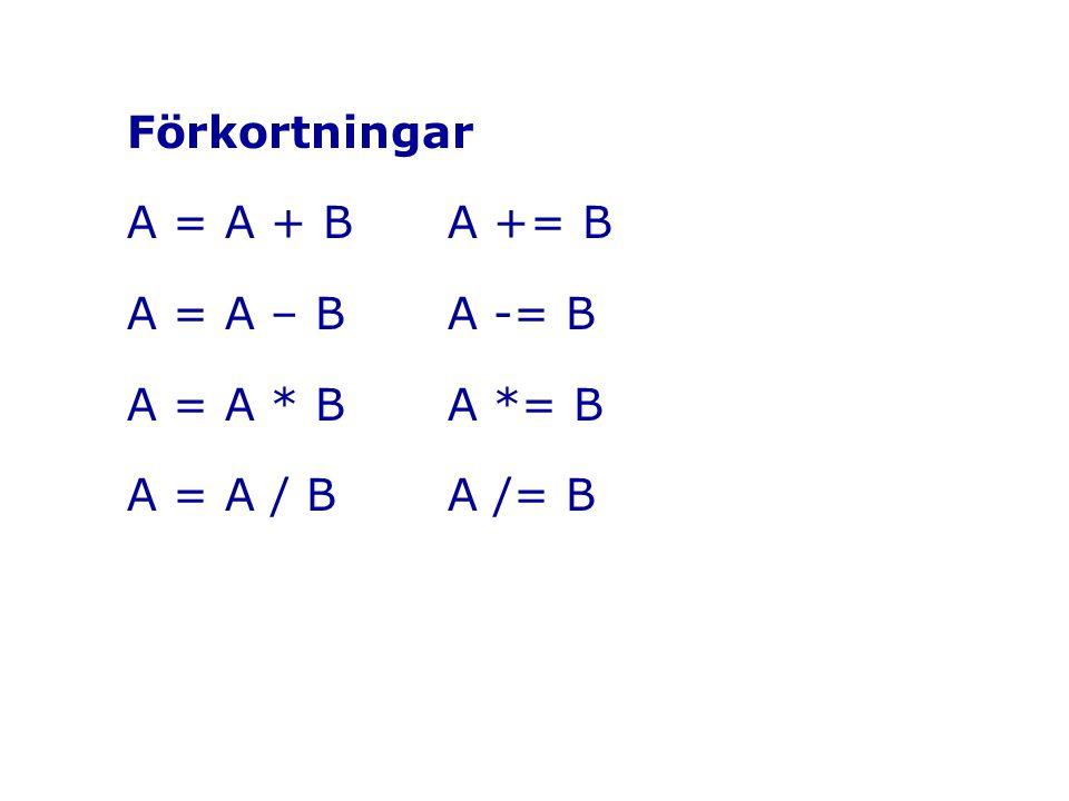 Förkortningar A = A + BA += B A = A – B A -= B A = A * B A *= B A = A / BA /= B