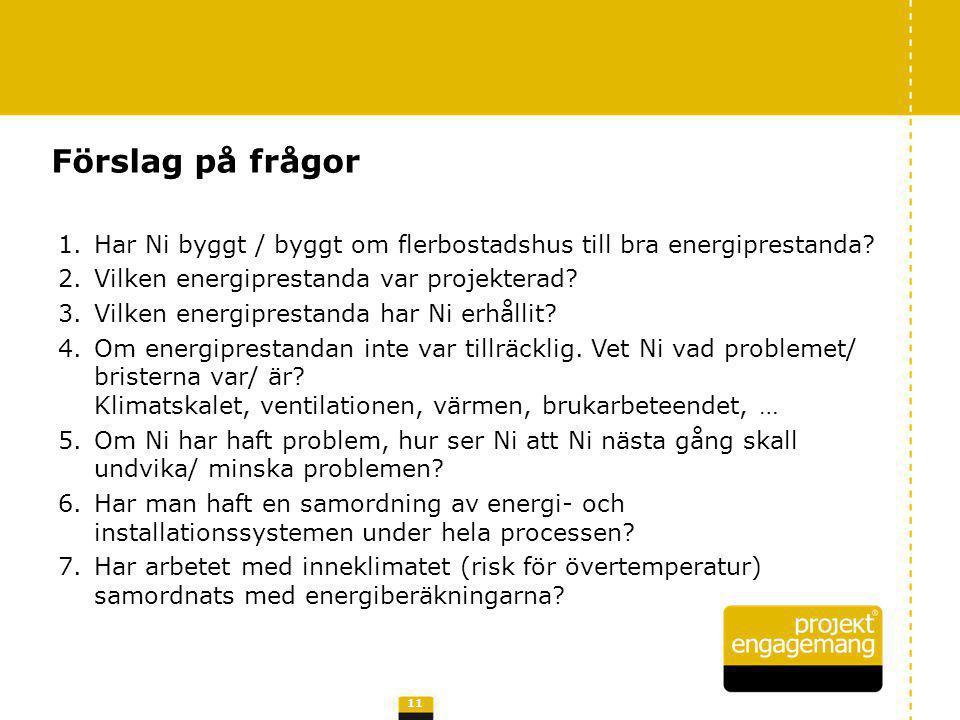 1.Har Ni byggt / byggt om flerbostadshus till bra energiprestanda? 2.Vilken energiprestanda var projekterad? 3.Vilken energiprestanda har Ni erhållit?