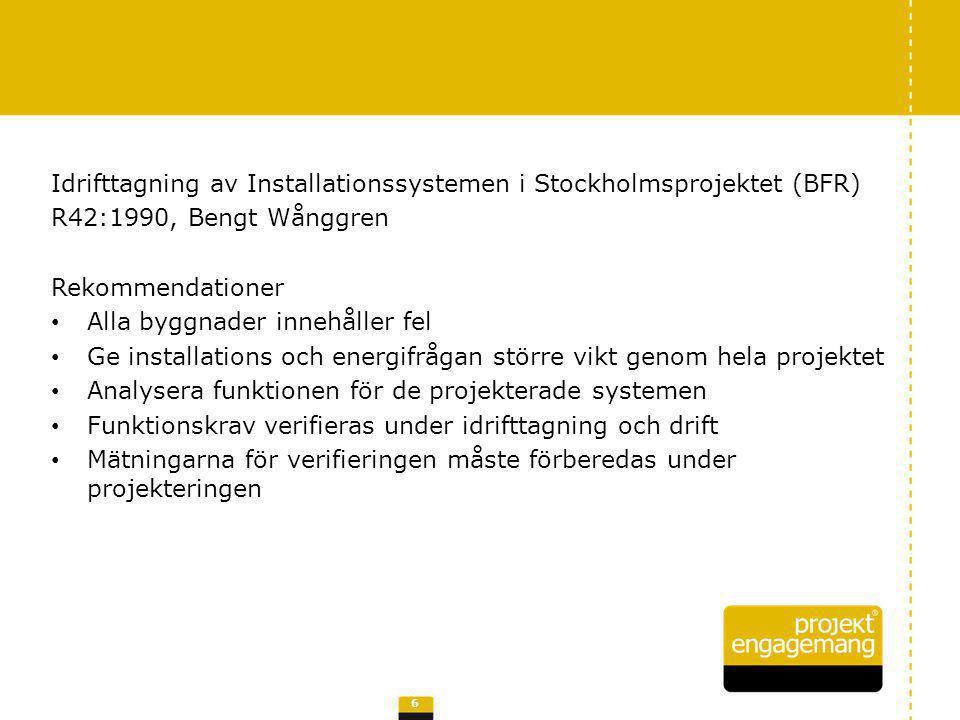 Idrifttagning av Installationssystemen i Stockholmsprojektet (BFR) R42:1990, Bengt Wånggren Rekommendationer Alla byggnader innehåller fel Ge installa