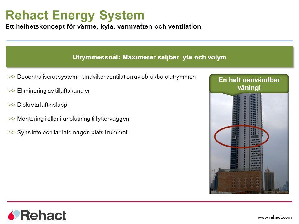 www.rehact.com Utrymmessnål: Maximerar säljbar yta och volym >> Decentraliserat system – undviker ventilation av obrukbara utrymmen >> Eliminering av