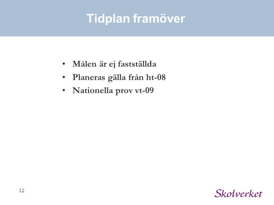 12 Tidplan framöver Målen är ej fastställda Planeras gälla från ht-08 Nationella prov vt-09