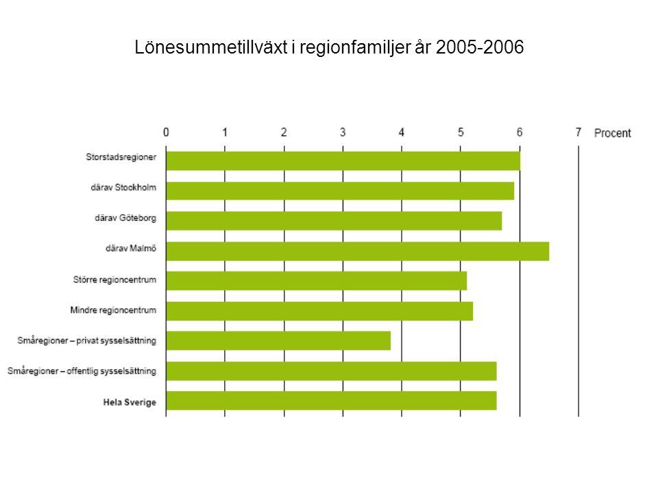 Lönesummetillväxt i regionfamiljer år 2005-2006