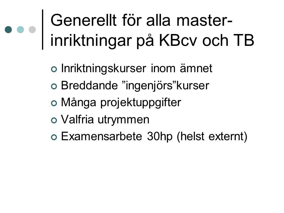 Generellt för alla master- inriktningar på KBcv och TB Inriktningskurser inom ämnet Breddande ingenjörs kurser Många projektuppgifter Valfria utrymmen Examensarbete 30hp (helst externt)