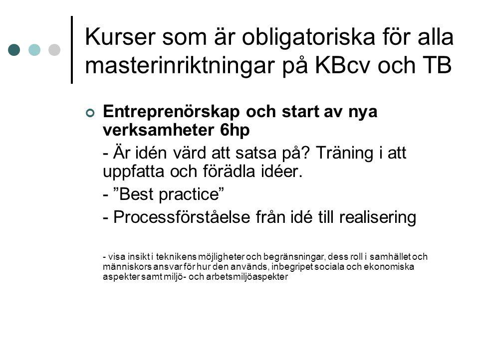 Kurser som är obligatoriska för alla masterinriktningar på KBcv och TB Entreprenörskap och start av nya verksamheter 6hp - Är idén värd att satsa på.