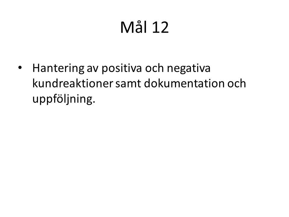 Mål 12 Hantering av positiva och negativa kundreaktioner samt dokumentation och uppföljning.