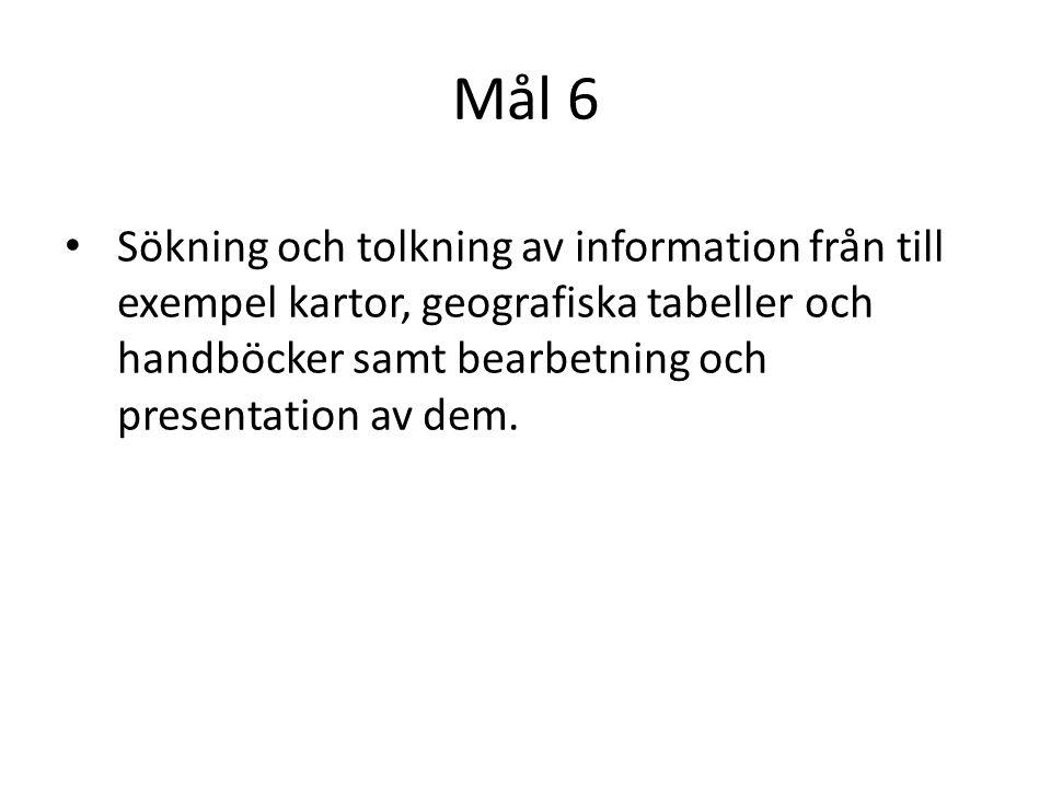 Mål 6 Sökning och tolkning av information från till exempel kartor, geografiska tabeller och handböcker samt bearbetning och presentation av dem.
