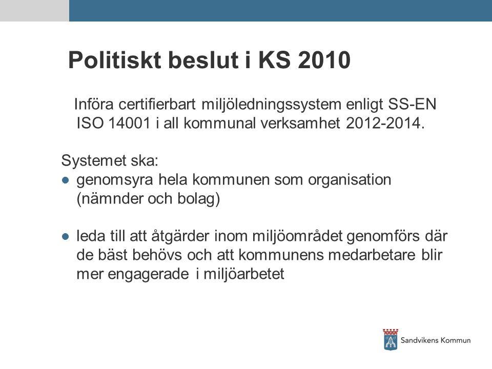 Politiskt beslut i KS 2010 Införa certifierbart miljöledningssystem enligt SS-EN ISO 14001 i all kommunal verksamhet 2012-2014. Systemet ska: genomsyr
