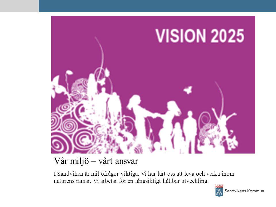 Vår miljö – vårt ansvar I Sandviken är miljöfrågor viktiga. Vi har lärt oss att leva och verka inom naturens ramar. Vi arbetar för en långsiktigt håll