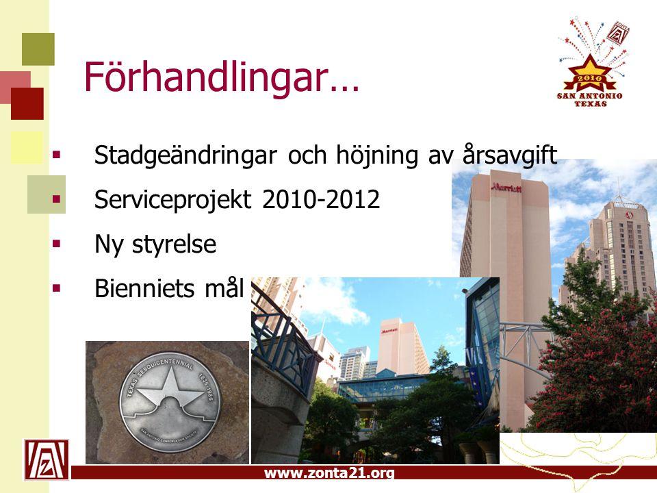 www.zonta21.org Förhandlingar…  Stadgeändringar och höjning av årsavgift  Serviceprojekt 2010-2012  Ny styrelse  Bienniets mål