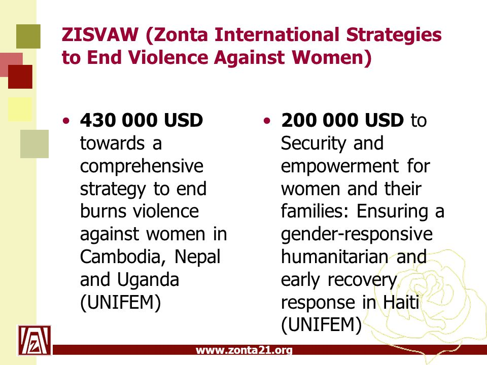 www.zonta21.org ZISVAW (Zonta International Strategies to End Violence Against Women) 430 000 USD towards a comprehensive strategy to end burns violen