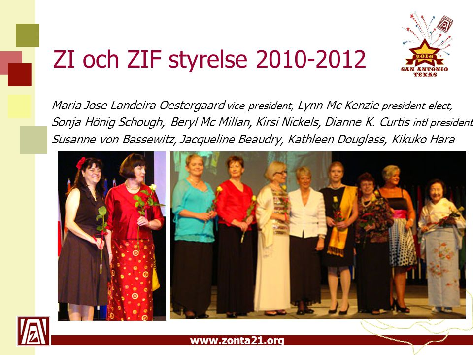 www.zonta21.org ZI och ZIF styrelse 2010-2012 Maria Jose Landeira Oestergaard vice president, Lynn Mc Kenzie president elect, Sonja Hönig Schough, Ber