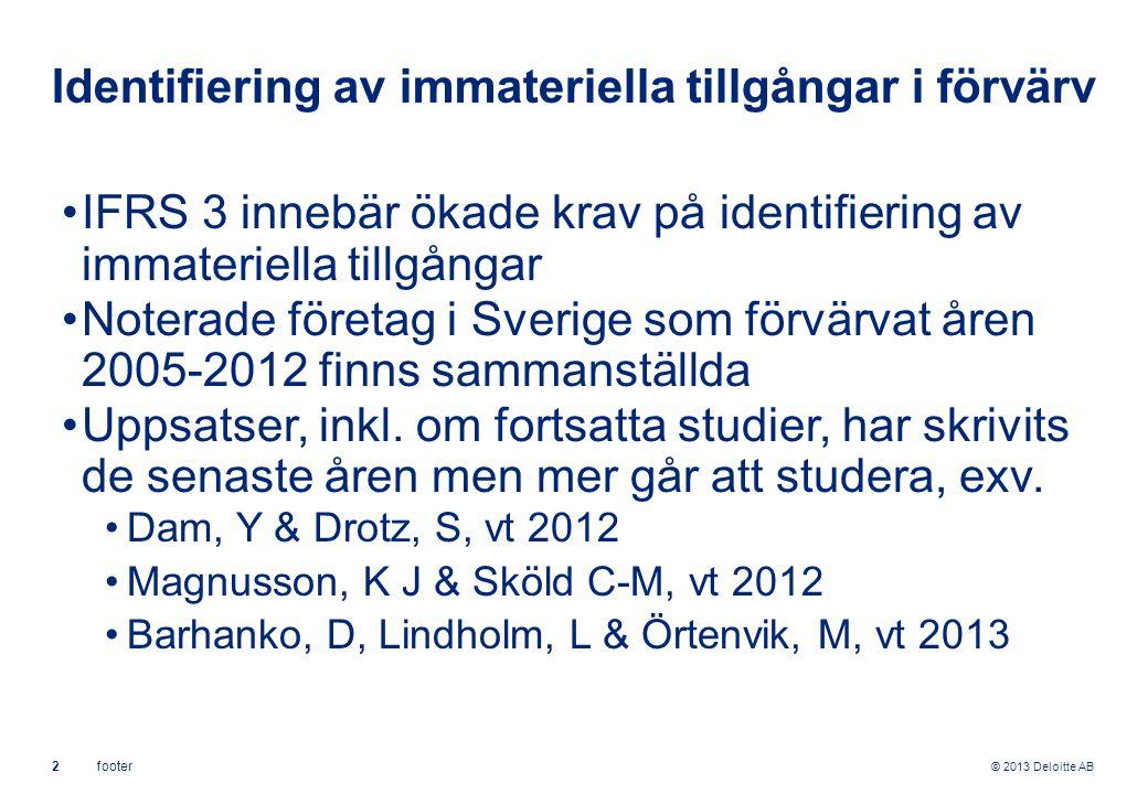 © 2013 Deloitte AB 2footer Identifiering av immateriella tillgångar i förvärv IFRS 3 innebär ökade krav på identifiering av immateriella tillgångar Noterade företag i Sverige som förvärvat åren 2005-2012 finns sammanställda Uppsatser, inkl.