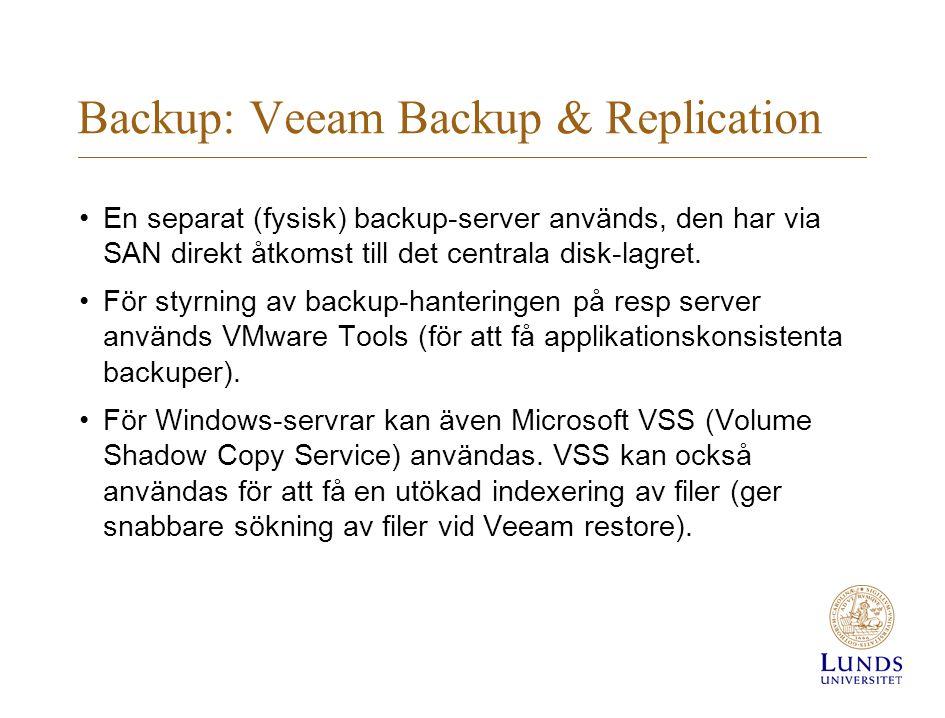 En separat (fysisk) backup-server används, den har via SAN direkt åtkomst till det centrala disk-lagret.