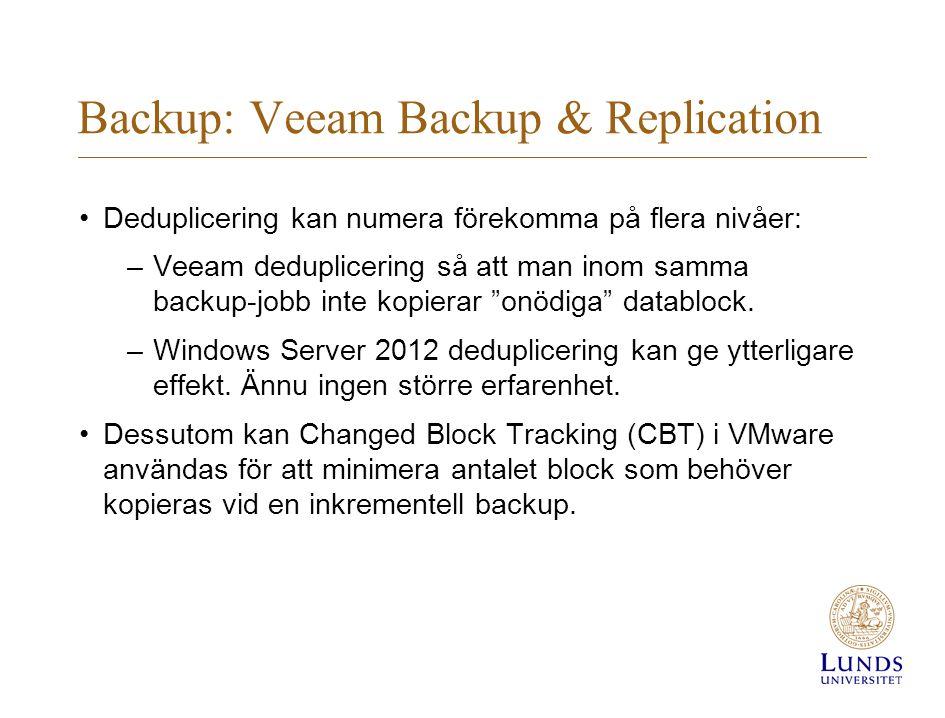 Backup: Veeam Backup & Replication Deduplicering kan numera förekomma på flera nivåer: –Veeam deduplicering så att man inom samma backup-jobb inte kopierar onödiga datablock.