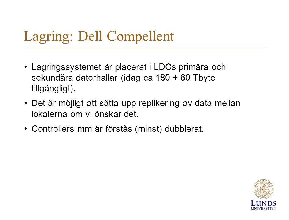 Lagring: Dell Compellent Lagringssystemet är placerat i LDCs primära och sekundära datorhallar (idag ca 180 + 60 Tbyte tillgängligt).