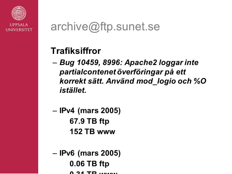 archive@ftp.sunet.se Trafiksiffror –Bug 10459, 8996: Apache2 loggar inte partialcontenet överföringar på ett korrekt sätt.
