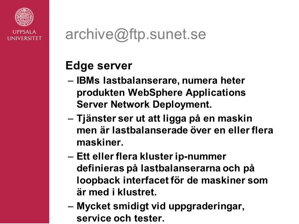 archive@ftp.sunet.se Edge server –IBMs lastbalanserare, numera heter produkten WebSphere Applications Server Network Deployment.