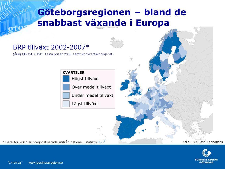 14-08-21 www.businessregion.se Göteborgsregionen – bland de snabbast växande i Europa Källa: BAK Basel Economics (årlig tillväxt i USD, fasta priser 2000 samt köpkraftskorrigerat) * Data för 2007 är prognostiserade utifrån nationell statistik BRP tillväxt 2002-2007*