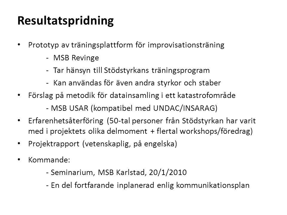 Resultatspridning Prototyp av träningsplattform för improvisationsträning -MSB Revinge -Tar hänsyn till Stödstyrkans träningsprogram -Kan användas för även andra styrkor och staber Förslag på metodik för datainsamling i ett katastrofområde - MSB USAR (kompatibel med UNDAC/INSARAG) Erfarenhetsåterföring (50-tal personer från Stödstyrkan har varit med i projektets olika delmoment + flertal workshops/föredrag) Projektrapport (vetenskaplig, på engelska) Kommande: - Seminarium, MSB Karlstad, 20/1/2010 - En del fortfarande inplanerad enlig kommunikationsplan