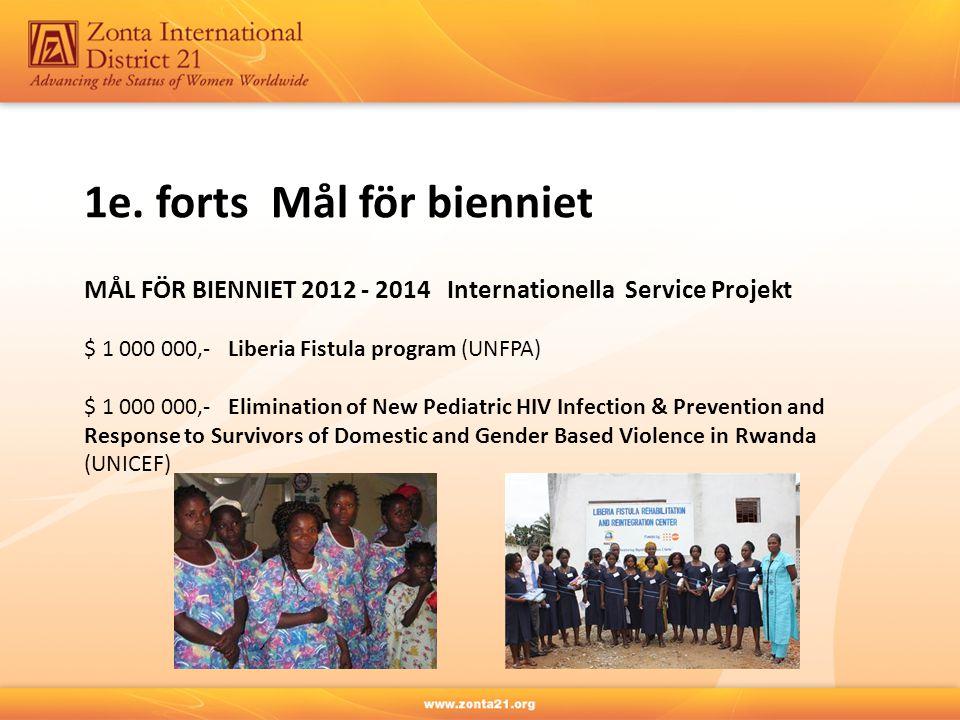 1e. forts Mål för bienniet MÅL FÖR BIENNIET 2012 - 2014 Internationella Service Projekt $ 1 000 000,- Liberia Fistula program (UNFPA) $ 1 000 000,- El