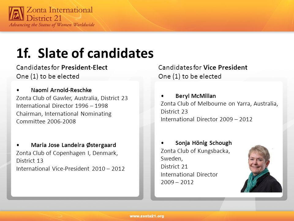 1f. Slate of candidates Naomi Arnold-Reschke Zonta Club of Gawler, Australia, District 23 International Director 1996 – 1998 Chairman, International N