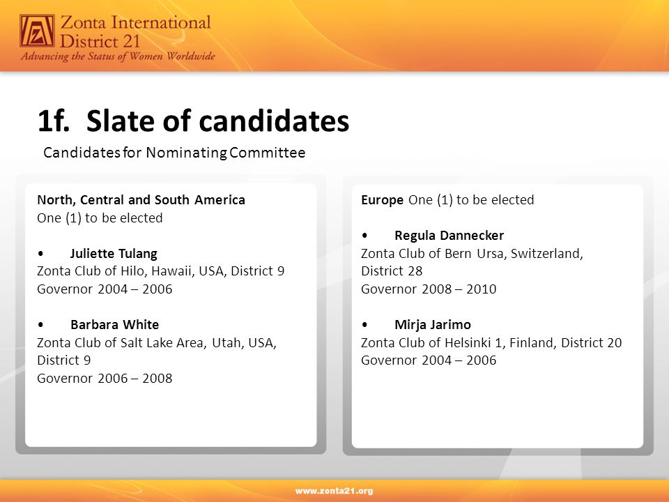 1f. Slate of candidates Candidates for Nominating Committee North, Central and South America One (1) to be elected Juliette Tulang Zonta Club of Hilo,