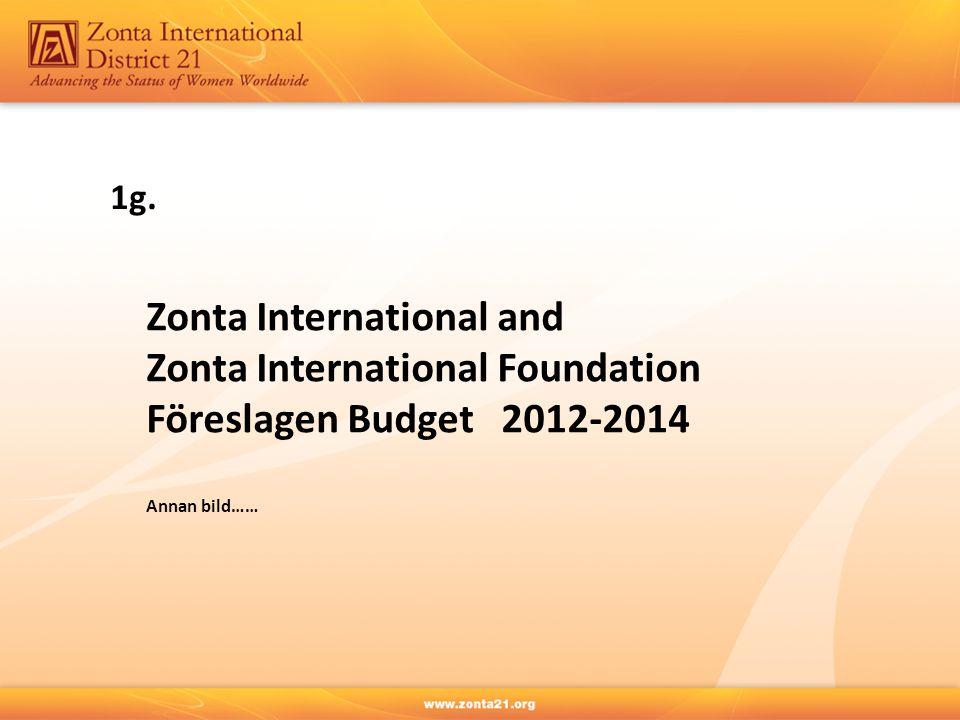 Zonta International and Zonta International Foundation Föreslagen Budget 2012-2014 Annan bild…… 1g.
