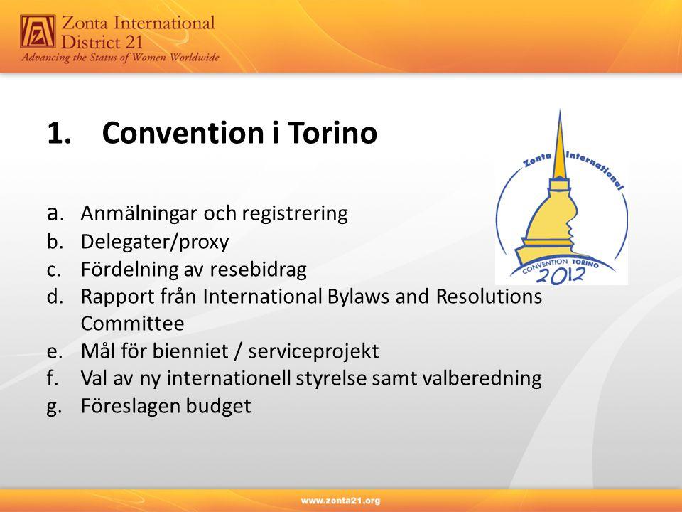 1.Convention i Torino a.Anmälningar och registrering b.Delegater/proxy c.Fördelning av resebidrag d.Rapport från International Bylaws and Resolutions