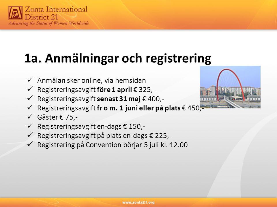 1a. Anmälningar och registrering Anmälan sker online, via hemsidan Registreringsavgift före 1 april € 325,- Registreringsavgift senast 31 maj € 400,-