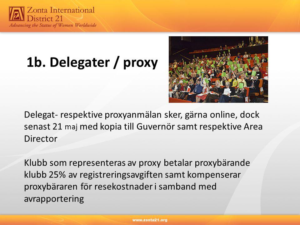 1b. Delegater / proxy Delegat- respektive proxyanmälan sker, gärna online, dock senast 21 maj med kopia till Guvernör samt respektive Area Director Kl