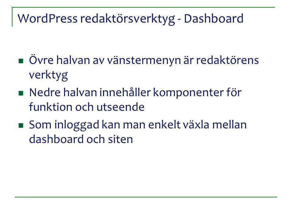 WordPress redaktörsverktyg - Dashboard Övre halvan av vänstermenyn är redaktörens verktyg Nedre halvan innehåller komponenter för funktion och utseend