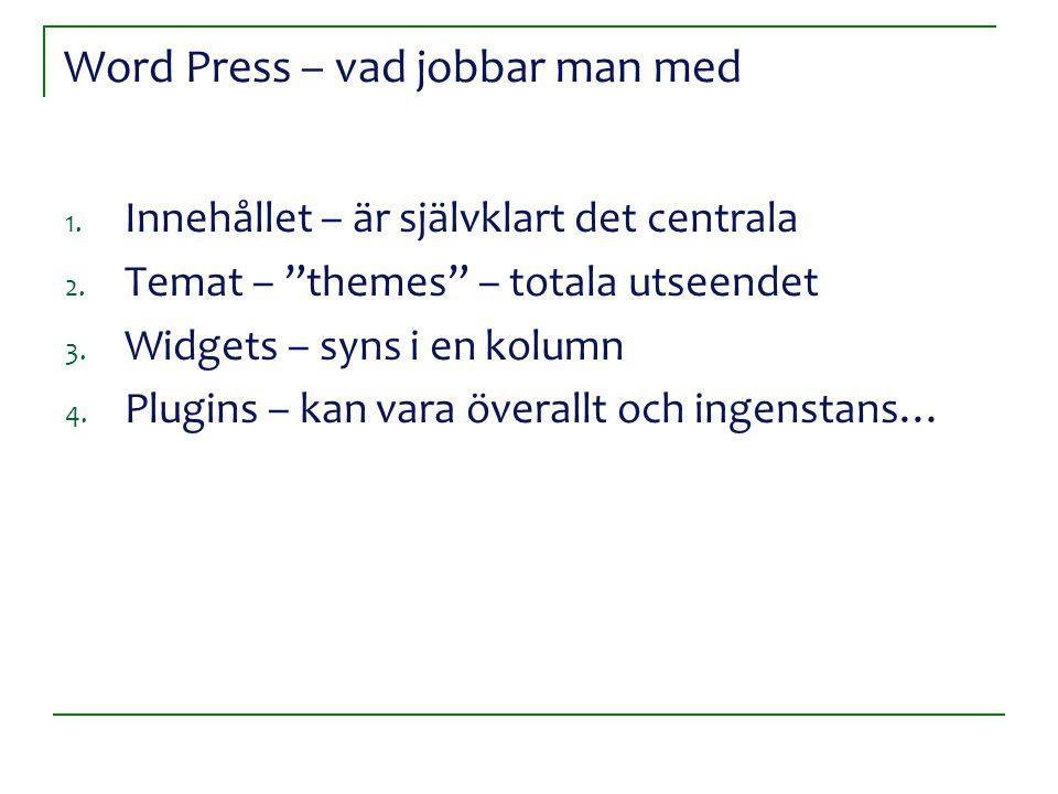 """Word Press – vad jobbar man med 1. Innehållet – är självklart det centrala 2. Temat – """"themes"""" – totala utseendet 3. Widgets – syns i en kolumn 4. Plu"""