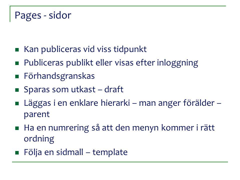 Pages - sidor Kan publiceras vid viss tidpunkt Publiceras publikt eller visas efter inloggning Förhandsgranskas Sparas som utkast – draft Läggas i en