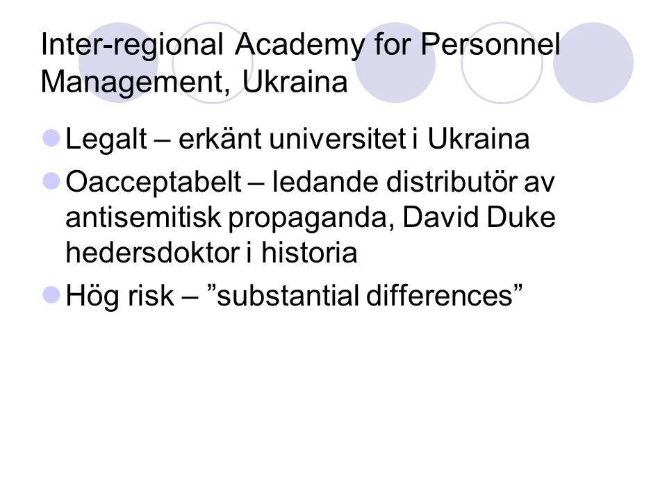 Inter-regional Academy for Personnel Management, Ukraina Legalt – erkänt universitet i Ukraina Oacceptabelt – ledande distributör av antisemitisk propaganda, David Duke hedersdoktor i historia Hög risk – substantial differences