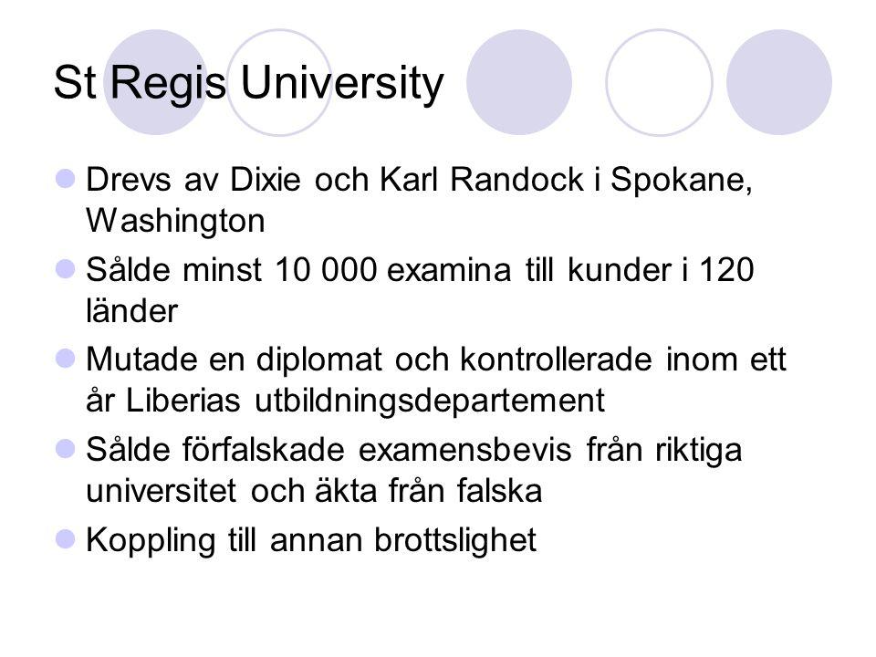 St Regis University Drevs av Dixie och Karl Randock i Spokane, Washington Sålde minst 10 000 examina till kunder i 120 länder Mutade en diplomat och k