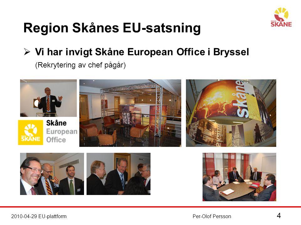 4 2010-04-29 EU-plattformPer-Olof Persson Region Skånes EU-satsning  Vi har invigt Skåne European Office i Bryssel (Rekrytering av chef pågår)