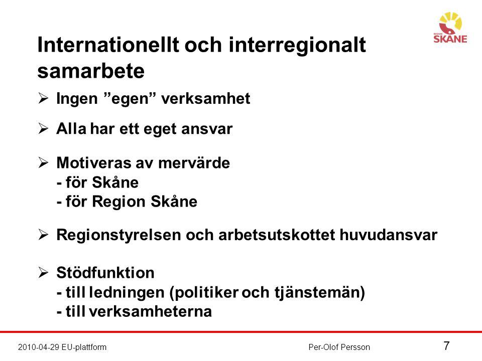 7 2010-04-29 EU-plattformPer-Olof Persson  Ingen egen verksamhet  Alla har ett eget ansvar  Motiveras av mervärde - för Skåne - för Region Skåne  Regionstyrelsen och arbetsutskottet huvudansvar  Stödfunktion - till ledningen (politiker och tjänstemän) - till verksamheterna Internationellt och interregionalt samarbete