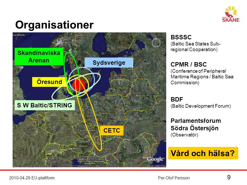 9 2010-04-29 EU-plattformPer-Olof Persson Organisationer Sydsverige Öresund Skandinaviska Arenan S W Baltic/STRING CETC BDF (Baltic Development Forum) BSSSC (Baltic Sea States Sub- regional Cooperation) CPMR / BSC (Conference of Peripheral Maritime Regions / Baltic Sea Commission) Parlamentsforum Södra Östersjön (Observatör) Vård och hälsa