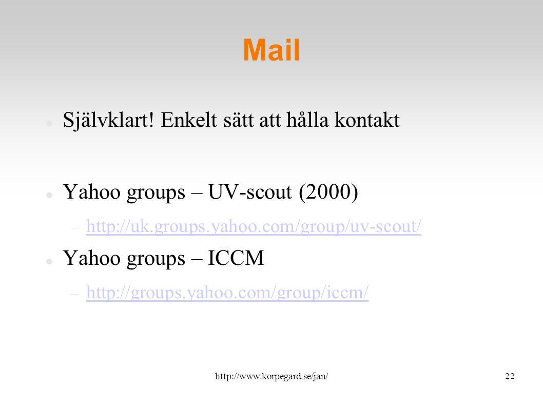 http://www.korpegard.se/jan/23 Chat IRC  1994 – personliga relationer Skype, MSN, ICQ, Gtalk...