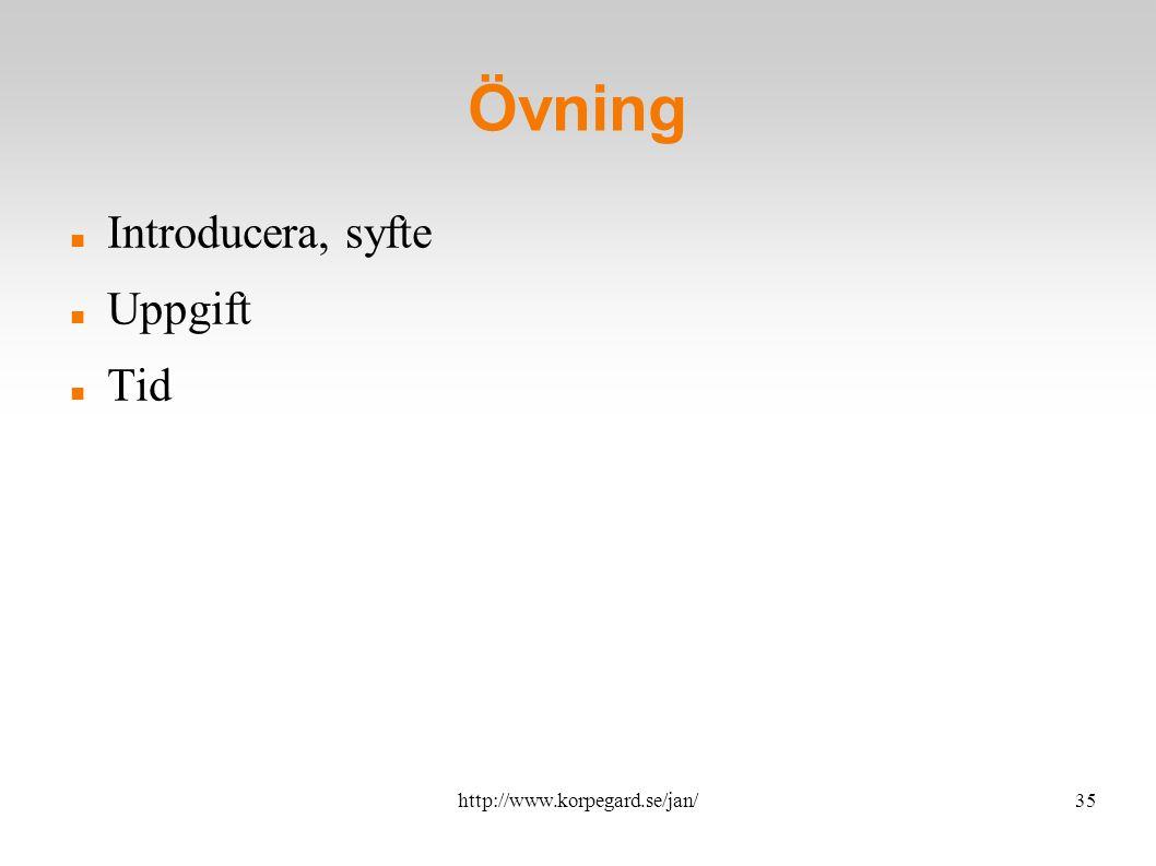 http://www.korpegard.se/jan/36 Övningar Bikupa: Placera in olika tjänster i fyrkanterna Alternativt: Uttryck olika användningsområde för t.ex.