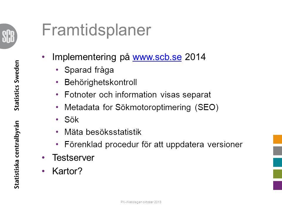 Framtidsplaner Implementering på www.scb.se 2014www.scb.se Sparad fråga Behörighetskontroll Fotnoter och information visas separat Metadata for Sökmot