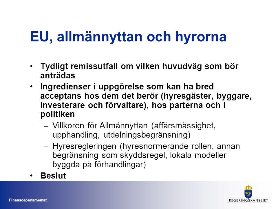 Finansdepartementet EU, allmännyttan och hyrorna Tydligt remissutfall om vilken huvudväg som bör anträdas Ingredienser i uppgörelse som kan ha bred ac