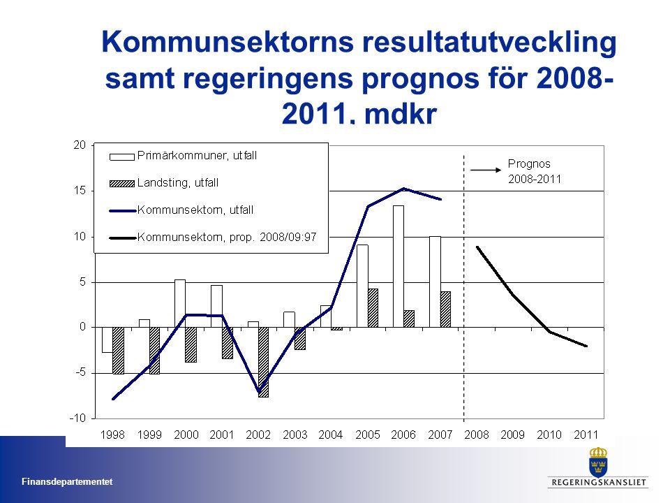Finansdepartementet Kommunsektorns resultatutveckling samt regeringens prognos för 2008- 2011, mdkr