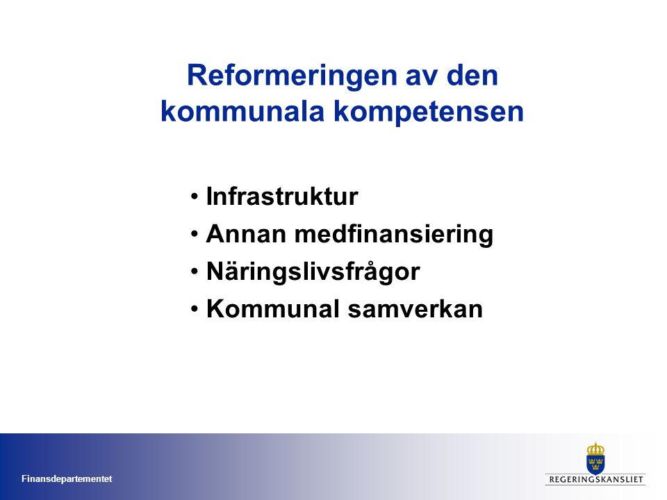 Finansdepartementet Reformeringen av den kommunala kompetensen Infrastruktur Annan medfinansiering Näringslivsfrågor Kommunal samverkan