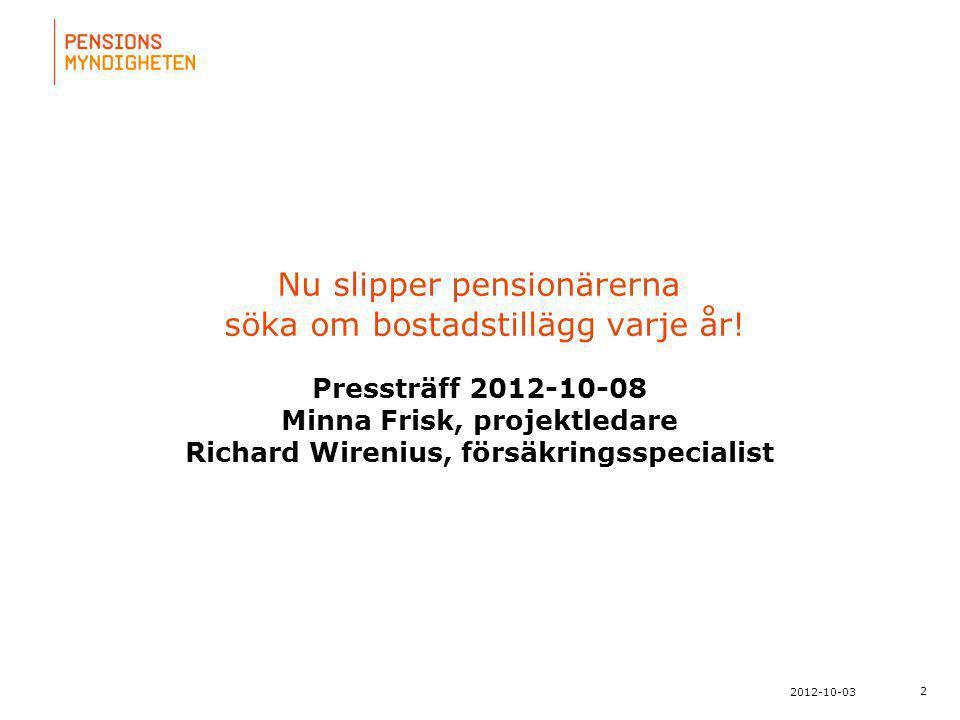 För att uppdatera sidfotstexten, gå till menyn: Visa/Sidhuvud och sidfot... 2 2012-10-03 Nu slipper pensionärerna söka om bostadstillägg varje år! Pre