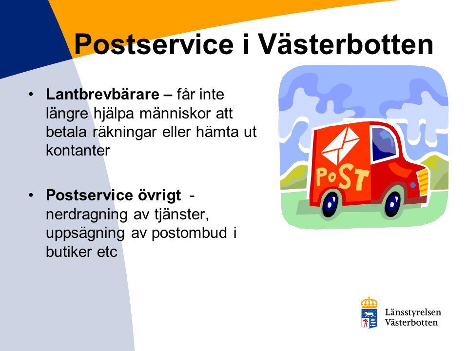 Postservice i Västerbotten Lantbrevbärare – får inte längre hjälpa människor att betala räkningar eller hämta ut kontanter Postservice övrigt - nerdra