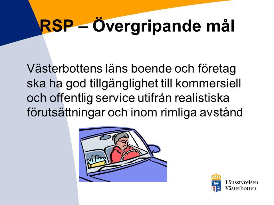 Servicelösningar – test av nya lösningar Resultatmål –Projekt med samordnade transporter genomförs –3 servicepunkter har inrättats för att samordna och säkerställa servicen –1 studie genomförs avseende s.k.