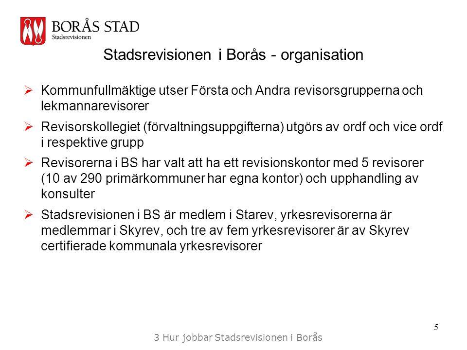 Stadsrevisionen i Borås - organisation  Kommunfullmäktige utser Första och Andra revisorsgrupperna och lekmannarevisorer  Revisorskollegiet (förvaltningsuppgifterna) utgörs av ordf och vice ordf i respektive grupp  Revisorerna i BS har valt att ha ett revisionskontor med 5 revisorer (10 av 290 primärkommuner har egna kontor) och upphandling av konsulter  Stadsrevisionen i BS är medlem i Starev, yrkesrevisorerna är medlemmar i Skyrev, och tre av fem yrkesrevisorer är av Skyrev certifierade kommunala yrkesrevisorer 5 3 Hur jobbar Stadsrevisionen i Borås