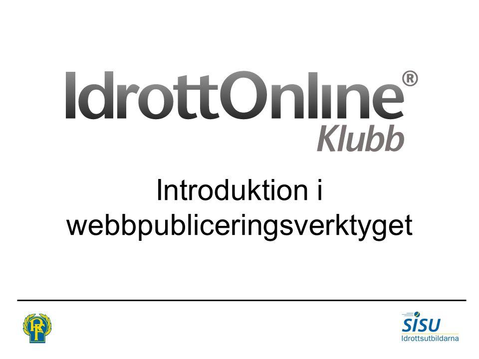 Introduktion i webbpubliceringsverktyget